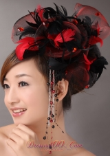 Multi-color Rhinestones Headpiece with Feather Tulle