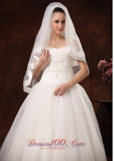 Tulle with Taffeta Trim Modest Bridal Veil for Wedding