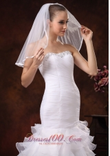 Discount Taffeta Trim Edge Tulle Bridal Veils for Wedding