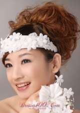 lowers Lace Decorate White Headpiece for Romantic Party
