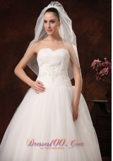 White Drop Tulle Bridal Veils Cheap for Brides
