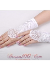 Wrist Length Satin Fingerless Bridal Gloves with Appliques