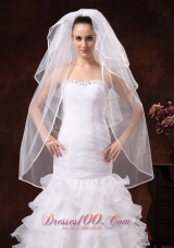 Wedding Party Veils in Four-tier Organza with Pearl Trim