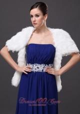 Short Sleeves Jacket Faux Fur White Wedding Affordable