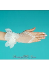 Wedding Gloves with Hand Made Flower Tulle Wrist Length