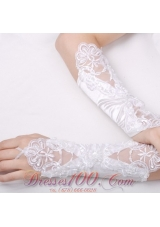 Bridal Gloves with Appliques Satin Fingerless Elbow Length