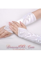 Satin Fingerless Elbow Length Bridal Gloves with Flower