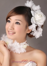 Headpieces for Brides in White Organza Beading
