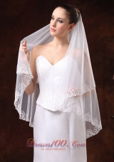 Exquisite White Applique Edge Organza Wedding Veil