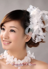 Feather Bridal Hair Piece White with Flowers and Tulle