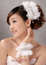 Women' s Headpiece Wrist Corsage Pearls Crystals