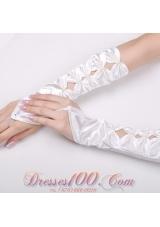 Fingerless Elbow Length Bridal Gloves with Flowers