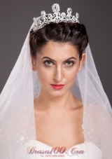 Alloy Crowns and Tiaras with Floral Shaped Beading Accents