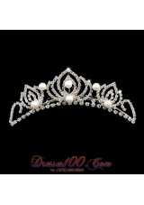 Imitation Pearl Tiara With Rhinestone for Girls