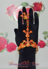 Ladies' Fashion Rhinestone Orange Bracelet and Ring
