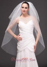On Sale Three-tier Cut Edge Tulle Drop Bridal Veil
