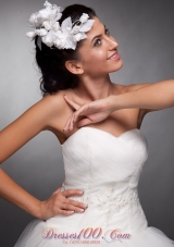 Hand Made Flowers White Women Headpieces Taffeta