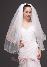 Ribbon Edge Drop Bridal Veils Tulle Two-tier