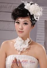 Feather Flower Tulle Silk Ribbon Wedding Hairpin