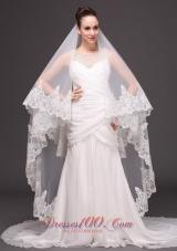 Mantilla Edge Drop Wedding Veil Two-tier