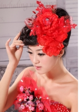 Red Taffeta Tulle For Headpieces With Beading