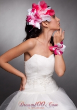 Hand Flowers Red and White Headpieces and Wrist Corsage