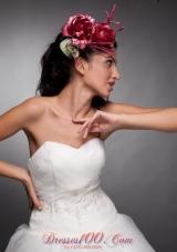 Red Taffeta Hand Made Flowers Bridal Headpieces