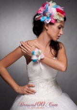 Hand Flowers Colorful Headpieces and Wrist Corsage