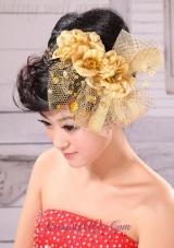 Gold Taffeta Beading Tulle Headpieces Hand Flower