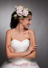 Baby Pink Bridal Headpieces Taffeta Hand Flower