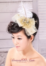 Feather Gold Net Side Clamp Diamond For Headpieces