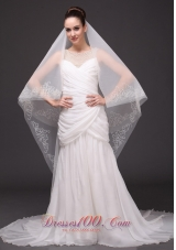 Beading Trim Edge Tulle Bridal Veil For Wedding