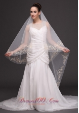 Two-tiers Oval Beading Trim Edge Veil For Wedding