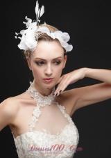 White Rhinestones Flower Bridal Fascinators With Feather