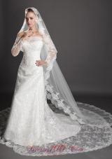 Lace Appliques Edge Waterfall Organza Wedding Veils