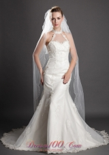 Two-tier Fingertip Veil Tulle Waterfall Two-tier
