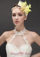 Yellow Imitation Pearls Women 's Fascinators Tulle