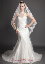 Waterfall Scalloped Edge Bridal Veils One-tier Tulle