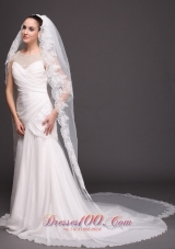 Lace Edge Two-tier Bridal Veils For Wedding Waterfall