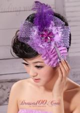 Feather Net Ribbon Pearl Lavender Bridal Headpiece