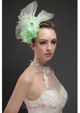 Green Hand Flowers Tulle Fascinators With Beading