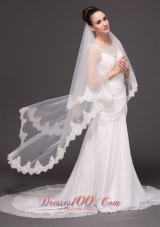 Beautiful Lace Wedding Bridal Veils Two-tiered White