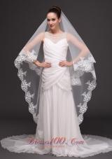 Graceful Wedding Veil 2013 Lace Appliqued Tulle