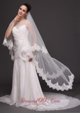 Wedding tulle 2013 laced two tiered white