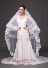 Wedding Drop Veil Two-tiered Lace 2013