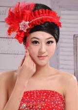 Red Headpiece Bride Pearl Headdress Feathe