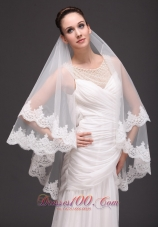 Modest Wedding Lace 2013 Two-tiered Tulle
