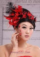 Hat Flower Wedding Headpiece Red Feather