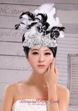 Net Yarn Fashion Hat Pearl Headpiece White and Black