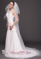 Three-Tiered Tulle Pearl Dropped Veil